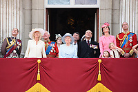 Prince Edward, Camilla Duchess of Cornwall, Prince Charles, Queen, Prince Phillip, Catherine Duchess of Cambridge, Princess Charlotte, Prince George, Prince William<br /> on the balcony of Buckingham Palace during Trooping the Colour on The Mall, London. <br /> <br /> <br /> &copy;Ash Knotek  D3283  17/06/2017