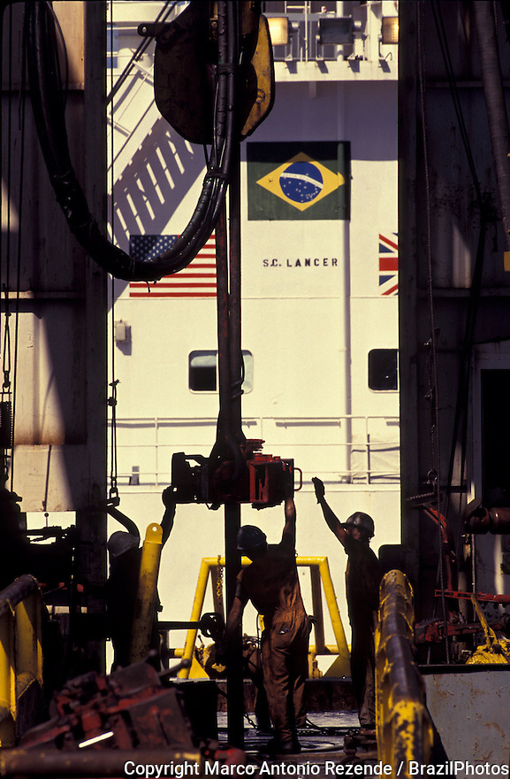 Drilling rig ship - oil exploration in Brazil, joint venture between Brazil, United States and England petroleum companies.
