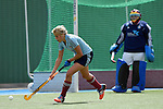Mannheim, Germany, April 26: During the 1. Bundesliga Damen match between Mannheimer HC (red) and Uhlenhorster HC (light blue) on April 26, 2015 at Mannheimer HC in Mannheim, Germany. Final score 1-2 (0-2). (Photo by Dirk Markgraf / www.265-images.com) *** Local caption *** Kristina Hillmann #25 of Uhlenhorster HC