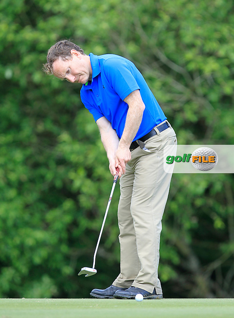 Peter McNeill (Woodbrook) on the 1st green during Round 1 of the Irish Mid-Amateur Open Championship at New Forest on Saturday 20th June 2015.<br /> Picture:  Thos Caffrey / www.golffile.ie