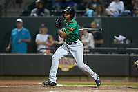Leody Taveras (3) of the Down East Wood Ducks follows through on his swing against the Winston-Salem Dash at BB&T Ballpark on May 10, 2019 in Winston-Salem, North Carolina. The Wood Ducks defeated the Dash 9-2. (Brian Westerholt/Four Seam Images)