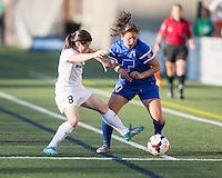 Allston, Massachusetts - June 1, 2014:  The Washington Spirit (white) defeated the Boston Breakers (blue) , 3-2 in a National Women's Soccer League Elite (NWSL) match at Harvard Stadium.