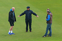 Umpire Ian Gould (C) inspects the outfield during Yorkshire CCC vs Essex CCC, Specsavers County Championship Division 1 Cricket at Emerald Headingley Cricket Ground on 15th April 2018