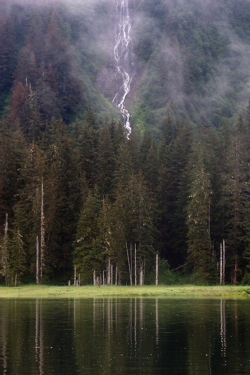 Waterfall, Alaska, Old growth forest, Prince William Sound, Esther Passage, Coastal temperate rain forest,
