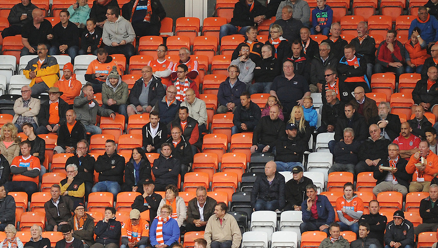 Blackpool fans look on during todays match  <br /> <br /> Photographer Kevin Barnes/CameraSport<br /> <br /> Football - The Football League Sky Bet League One - Blackpool v Burton Albion - Tuesday 18th August 2015 - Bloomfield Road - Blackpool<br /> <br /> &copy; CameraSport - 43 Linden Ave. Countesthorpe. Leicester. England. LE8 5PG - Tel: +44 (0) 116 277 4147 - admin@camerasport.com - www.camerasport.com