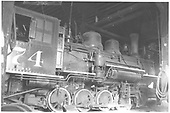 RGS 2-8-0 #74 inside the Ridgway roundhouse.<br /> RGS  Ridgway, CO  Taken by Johnson, J. D. - 1943-1946