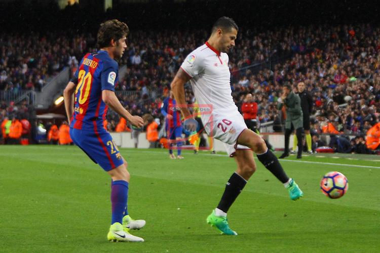 League Santander 2016/2017. Game: 30.<br /> FC Barcelona vs Sevilla FC: 3-0.<br /> Sergi Roberto vs Vitolo.