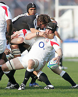 England second row Benjamin Thomas steals this ball from New Zealand second row Sam Whitelock during the Division A U19 World Chanpionship match at Ravenhill, Belfast.