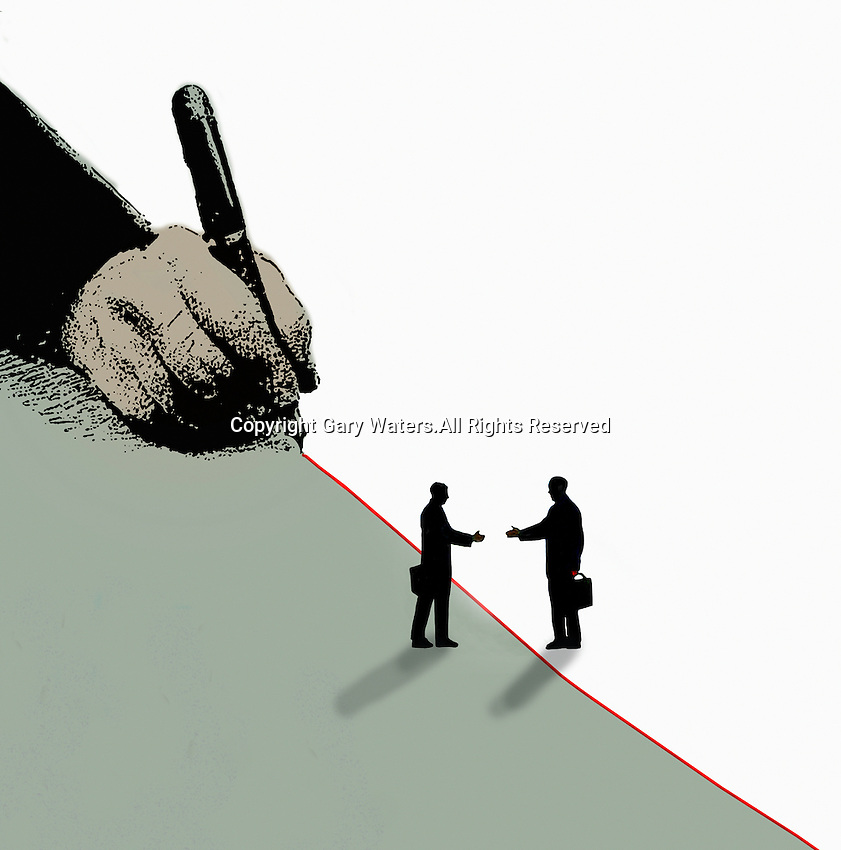 Two businessmen reaching to shake hands across red dividing line being drawn by hand