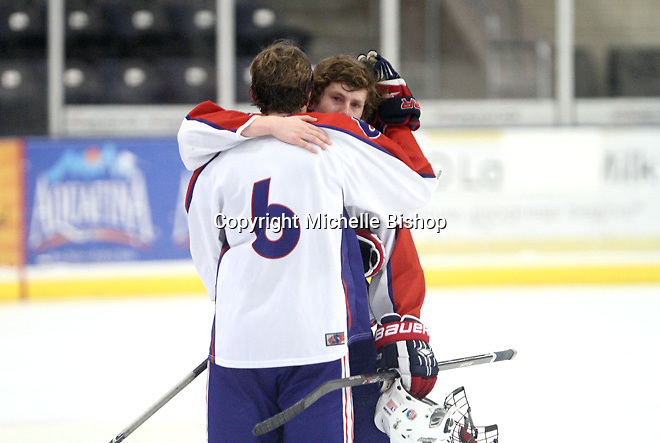 Cherry Creek's Michael Dubus (6) and Owen Berman (7). Cherry Creek (Colorado) beat Medina (Ohio) 5-1 on the third day of pool play during the 2014 High School Hockey National Championship in Omaha on March 28. (Photo by Michelle Bishop)