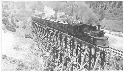 Wide angle view of K-27 #462 crossing bridge 22-A with a 12-car stock train northbound.<br /> RGS  near Leonard, CO  Taken by Kindig, Richard H. - 7/13/1948