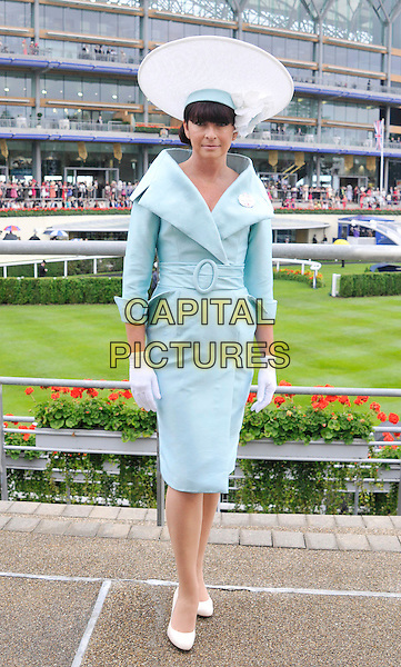 racegoer.The Royal Ascot Ladies Day racing event, Day 3, Ascot Racecourse, Ascot, Berkshire, England..June 21st, 2012.full length blue dress white hat .CAP/WIZ.© Wizard/Capital Pictures.