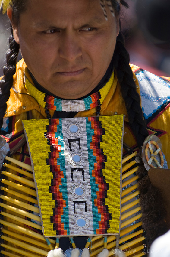 Man in Native American garb at North American Indian Days