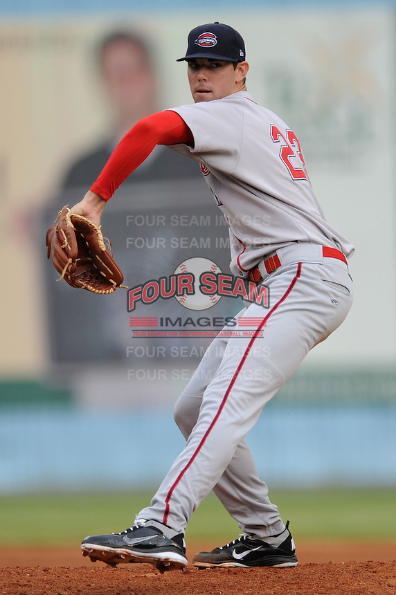 Greenville Drives Anthony Ranaudo #23 delivers a pitch during  a game against  the Asheville Tourists at McCormick Field in Asheville,  North Carolina;  May 11, 2011. The Tourists won the game 10-8.  Photo By Tony Farlow/Four Seam Images