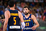 Spain's basketball player Rudy Fernandez and Sergio Llull during the  match of the preparation for the Rio Olympic Game at Madrid Arena. July 23, 2016. (ALTERPHOTOS/BorjaB.Hojas)
