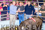 Best Bull at the Tralee Weanling sale on Tuesday born Dec 2015 & weighing 385kg sold for €1,060 pictured l-r; Brian Walsh(Chairman), Mike Dillane(Lixnaw) & Dan Carney(FBD Sponsors).
