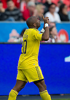 23 April 2011: Columbus Crew forward Emilio Renteria #20 celebrates his goal during a game between the Columbus Crew and the Toronto FC at BMO Field in Toronto, Ontario Canada..The game ended in a 1-1 draw.
