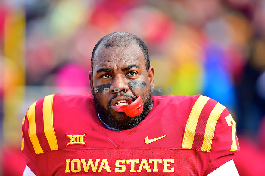 Iowa State Cyclones Duaron Williams (75) during a game against the Oklahoma Sooners on November 1, 2014 at Jack Trice Stadium in Ames, IA. Oklahoma beat Iowa State 59-14.