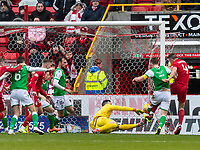 7th March 2020; Pittodrie Stadium, Aberdeen, Scotland; Scottish Premiership Football, Aberdeen versus Hibernian; Andrew Considine of Aberdeen makes the score 2-1 for Aberdeen in the 64th minute