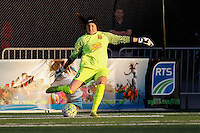 Rochester, NY - Friday July 01, 2016: Western New York Flash goalkeeper Katelyn Rowland (0) during a regular season National Women's Soccer League (NWSL) match between the Western New York Flash and the Chicago Red Stars at Rochester Rhinos Stadium.