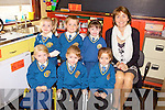 The junior infants of  Scoil Mhuire, Loughfouder National School who started their journey on September 1st were front l-r: Neave Tugwell with twins Matilda and Eimile Cotter. Back l-r: Anna McSweeney, Shane Browne, Emma Keane and teacher Emma Lane.