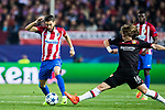 Yannick Ferreira Carrasco (l) of Atletico de Madrid fights for the ball with Tin Jedvaj of Bayer 04 Leverkusen during their 2016-17 UEFA Champions League Round of 16 second leg match between Atletico de Madrid and Bayer 04 Leverkusen at the Estadio Vicente Calderon on 15 March 2017 in Madrid, Spain. Photo by Diego Gonzalez Souto / Power Sport Images