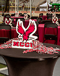 September 21, 2017. Durham, North Carolina.<br /> <br /> A tent was set up to entertain alumni who came to honor the new chancellor of the NCCU, Johnson O. Akinleye.<br /> <br /> The NCCU Eagles won a home game against the the South Carolina State Bulldogs 33-28 at O'Kelly–Riddick Stadium.