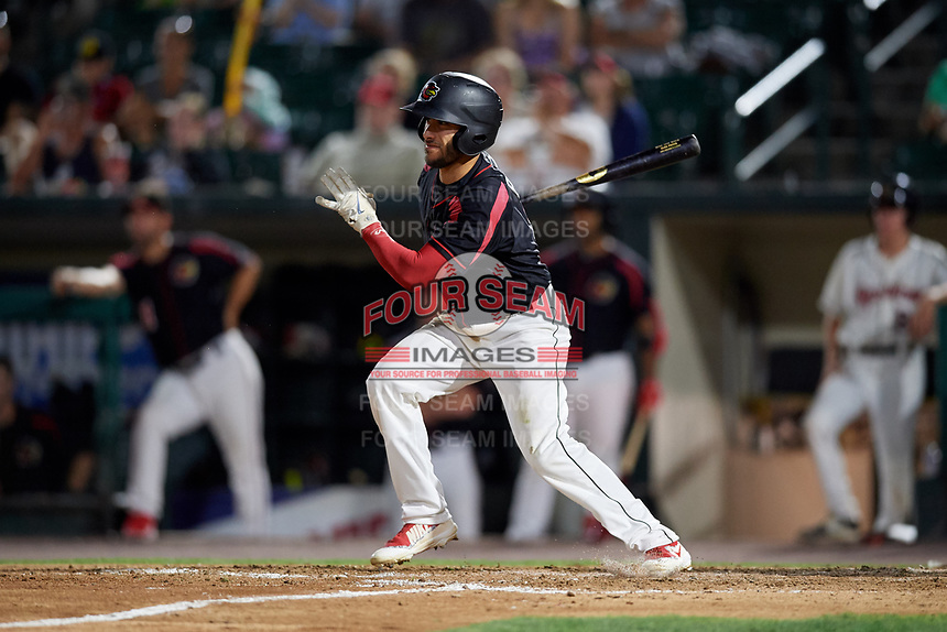 Rochester Red Wings second baseman Alex Perez (8) follows through on a swing during a game against the Lehigh Valley IronPigs on September 1, 2018 at Frontier Field in Rochester, New York.  Lehigh Valley defeated Rochester 2-1.  (Mike Janes/Four Seam Images)