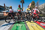 The jersey leaders line up for Stage 7 of the 78th edition of Paris-Nice 2020, running 166.5km from Nice to Valdeblore La Colmiane, France. 14th March 2020.<br /> Picture: ASO/Fabien Boukla | Cyclefile<br /> All photos usage must carry mandatory copyright credit (© Cyclefile | ASO/Fabien Boukla)