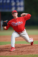 Philadelphia Phillies pitcher Garrett Cleavinger (39) delivers a pitch during an Instructional League game against the Toronto Blue Jays on September 30, 2017 at the Carpenter Complex in Clearwater, Florida.  (Mike Janes/Four Seam Images)