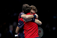 17th November 2019; 02 Arena. London, England; Nitto ATP Tennis Finals; Nicolas Mahut (FRA) celebrates with Pierre-Hugues Herbert (FRA) as they win the ATP doubles tournament  - Editorial Use