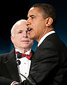 Washington, DC - January 19, 2009 -- United States President-elect Barack Obama shakes hands with United States Senator John McCain (Republican of Arizona), the Republican presidential nominee, after speaking about him at a bi-partisan dinner honoring McCain in Washington, D.C., U.S., Monday, January 19, 2009. .Credit: Joshua Roberts - Pool via CNP