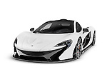 White 2014 McLaren P1 plug-in hybrid supercar isolated sports car on white background with clipping path