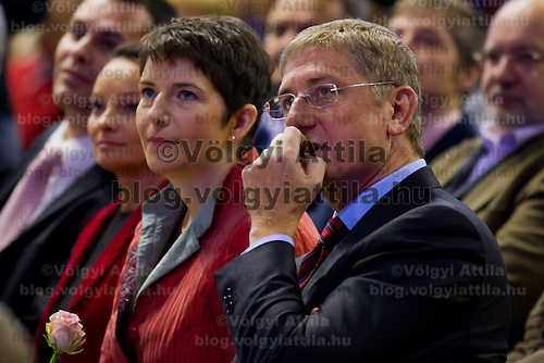 Ferenc Gyurcsany (2nd R) former prime minister of Hungary and his wife Klara Dobrev (3nd R) attend the Foundation of the Democratic Coallition Party in Budapest, Hungary on October 22, 2011. ATTILA VOLGYI