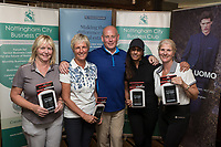 Booby Prize went to Buckles Solicitors - from left are Kim Oscroft, Kirsten Hardiker, NCBC President Ian Roberts, Karen Sandhu and Gail McManus