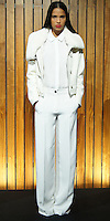 """ODILON FALL 2012<br /> """"#OSC1033 WHITE LONG SLEEVE SHIRT WITH EMBROIDERED CUFF; #OSC4030 WHITE WIDE LEG PANTS WITH SATIN EMBROIDERED TUXEDO SIDE DETAIL; SHORT WHITE JACKET IN WOOL WITH SHEARLING AND HORN TOGGLE CLOSURE"""""""