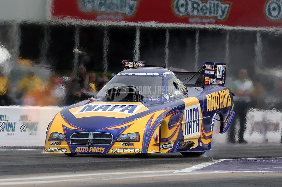 Apr. 28, 2013; Baytown, TX, USA: NHRA funny car driver Ron Capps during the Spring Nationals at Royal Purple Raceway. Mandatory Credit: Mark J. Rebilas-
