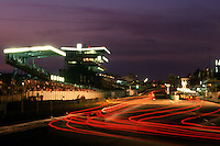 LE MANS, FRANCE - JUNE 17: A time-exposure night view of the front straight during the 24 Hours of Le Mans FIA World Sports Car Championship race at the Circuit de la Sarthe in Le Mans, France, on June 17, 1984.