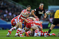 Greig Laidlaw of Gloucester Rugby passes the ball. European Rugby Challenge Cup Final, between Edinburgh Rugby and Gloucester Rugby on May 1, 2015 at the Twickenham Stoop in London, England. Photo by: Patrick Khachfe / Onside Images