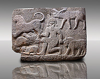 Picture & image of a Neo-Hittite orthostat describing the legend of Gilgamesh from Karkamis,, Turkey. Museum of Anatolian Civilisations, Ankara.