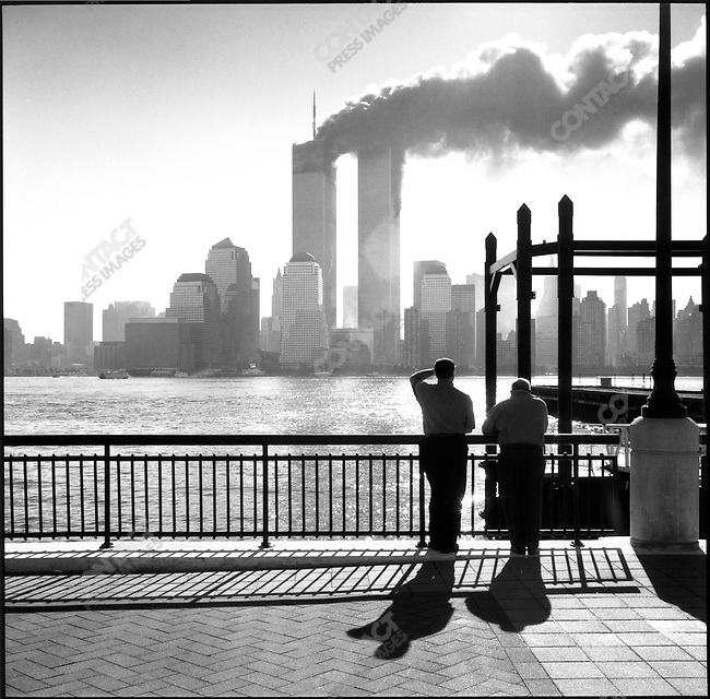 Attack on the World Trade Center, view from Jersey City, New Jersey, USA, September 11, 2001