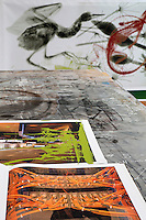 Working bench with paintings