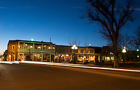 Santa Fe New Mexico historic Square Plaza at night color with traffic moving