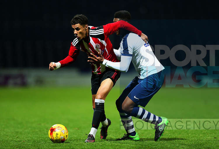Tyler Smith of Sheffield United U18's in action during the FA Youth Cup 3rd Round match at Deepdale Stadium, Preston. Picture date: November 30th, 2016. Pic Matt McNulty/Sportimage