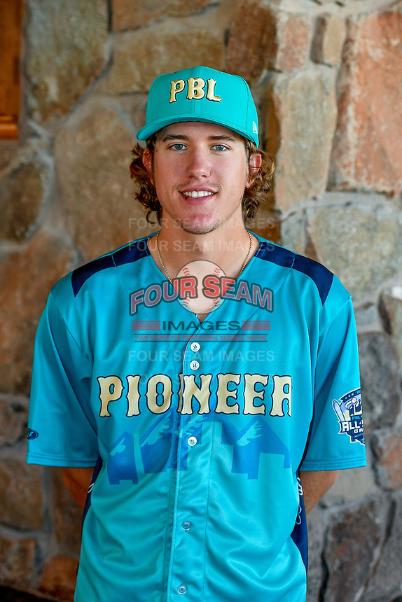 Connor Grey (38) of the Missoula Osprey and the Pioneer League All-Stars poses for a photo during activities before the 2nd Annual Northwest League-Pioneer League All-Star Game at Snowbasin Resort on August 1, 2016 in Ogden, Utah. (Stephen Smith/Four Seam Images)