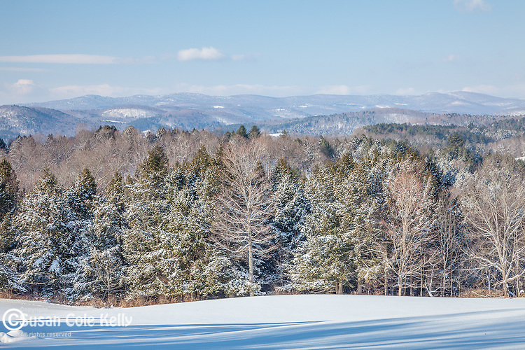 Mountain view from the hills of Quechee village, Hartford, VT, USA