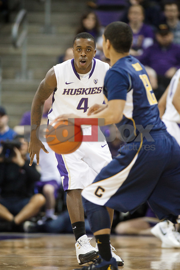 Hikeem Stewart...----Washington Huskies men's basketball against the California Golden Bears at Alaska Airlines Arena at Hec Edmundson Pavilion in Seattle on Thursday, January 19, 2012. (Photo by Dan DeLong/Red Box Pictures)
