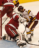Merrick Madsen (Harvard - 31), Neal Pionk (UMD - 4) - The University of Minnesota Duluth Bulldogs defeated the Harvard University Crimson 2-1 in their Frozen Four semi-final on April 6, 2017, at the United Center in Chicago, Illinois.
