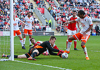 Rotherham United's Marek Rodak reaches the ball ahead of Blackpool's Nathan Delfouneso<br /> <br /> Photographer Alex Dodd/CameraSport<br /> <br /> The EFL Sky Bet League One - Rotherham United v Blackpool - Saturday 5th May 2018 - New York Stadium - Rotherham<br /> <br /> World Copyright &copy; 2018 CameraSport. All rights reserved. 43 Linden Ave. Countesthorpe. Leicester. England. LE8 5PG - Tel: +44 (0) 116 277 4147 - admin@camerasport.com - www.camerasport.com