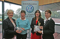 Irish Independent Lady Captains Golf Classic in Headford G.C..Louise Collins Right presents Mullingar Breda Conlon and Miriam McManus with there third place also pictured Cecil Wheelan.Photo: Fran Caffrey/ Newsfile.